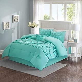 Comfort Spaces Cavoy Ultra Soft Hypoallergenic Microfiber Tufted Pattern 5 Piece Comforter Set Bedding, Queen, Aqua