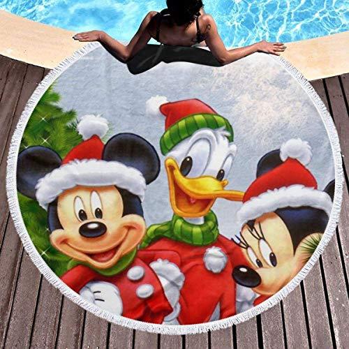 Gypsophila - Toalla de playa redonda con borlas de microfibra grande y suave, diseño de Mickey Mouse Donald Duck