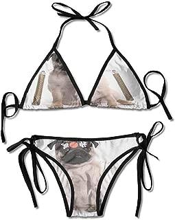 Thong 2PCS Bikini Sets,Karate Dog Eastern Warrior Sexy Bikini 2 Pieces