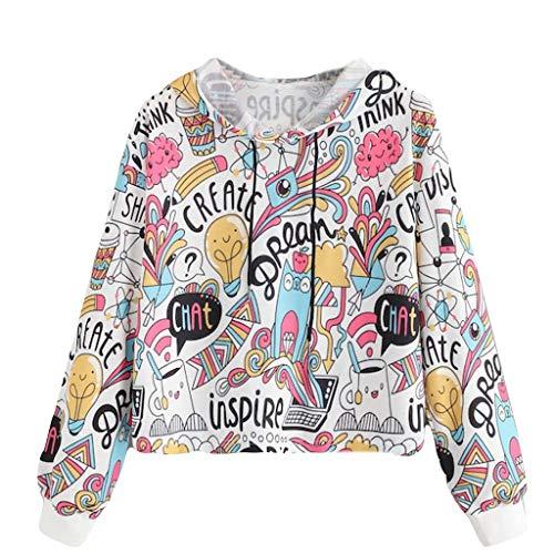 Sudaderas Adolescentes Chicas Corto Graffiti Caricatura, Fossen Sudaderas Mujer Tumblr con Capucha Calle - Emoticon Estampado Camiseta Blusa Tops de Manga Larga Moda