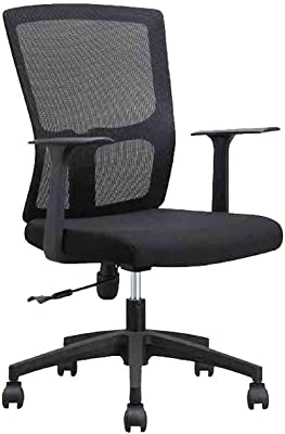 LH Swivel Chair Modern Simple Office Household Computer Chair Rise Drop Rotate Ergonomics Chair (Color : Black)