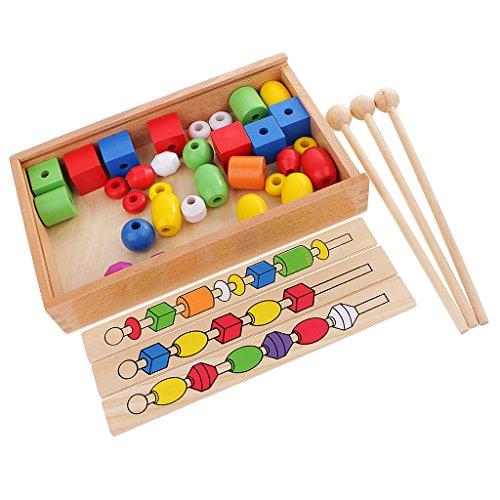 MagiDeal Montessori Perles de 6 Couleurs Jouet de Construction Empilable Jouet d'apprentissage Précoce pour Enfant Bébé