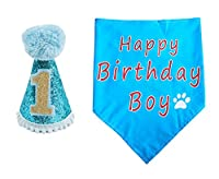 PET SHOW Dogs 1st Birthday Hats And Bandanas Set Cats 1-year-old Photo Props Party Costume Grooming Accessories (Blue) 141[並行輸入]