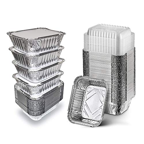 [50 Pack] 1 Lb Aluminum Foil Pans with Board Lids, 5.5' x 4.5' Takeout Containers Recyclable Food Storage - Tin Foil Pans Great for Cooking, Baking, Heating, Prepping Food