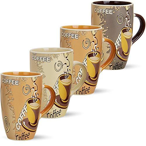 matches21 Große Tassen Becher Kaffeetassen Kaffeebecher Modern Coffee Keramik 4-tlg. Set je 12 cm / 350 ml