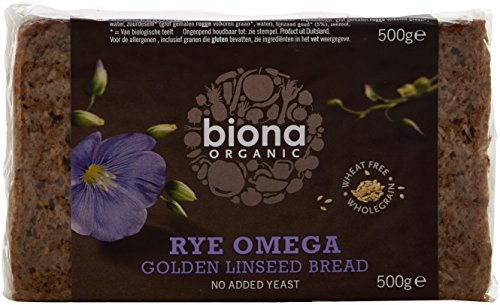 Biona Organic Rye Omega 3golden Linseed Bread 500g (Pack of 6)