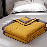 Fansu Bedspread Quilt Single Double Super King Bed Size, Reversible Quilted Bed Cover Sofa Blanket Throw Decorative Coverlet Microfiber Comforter Bed Sheet (yellow,200x220cm)