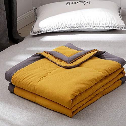 Fansu Tagesdecke Bettüberwurf Steppdecke Mikrofaser Doppelbett Einselbetten Gesteppt Bettwäsche Sofaüberwurf Wohndecke Bettdecke Stepp Gesteppter Quilt (Gelb,200x220cm)