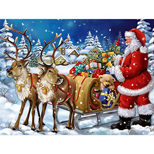 5D Christmas Diamond Painting by Number Kit, VETPW Santa Claus Full Drill DIY Rhinestone Diamond Painting Embroidery Pictures Cross Stitch Arts Craft for Home Wall Christmas Decoration (30x40CM)