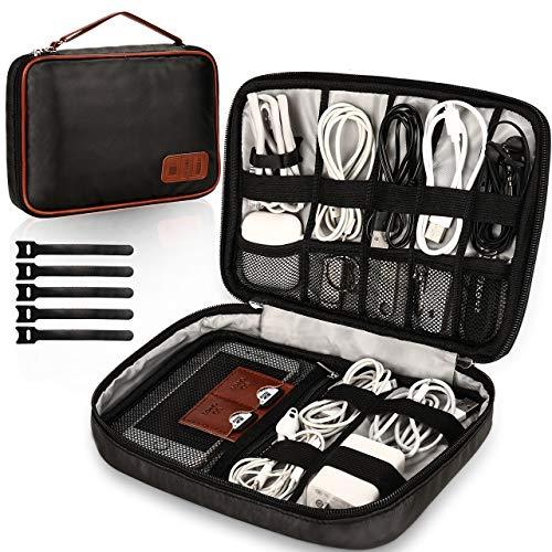 GIKPAL Electrónico Organizador de Cable Accesorios Bolsa, Accesorios de electrónica portátil Estuches para Discos Duros, Cargador USB,Tarjeta de Memoria