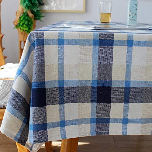 Branfan Nordic grote plaid katoen en linnen tafelkleed restaurant woonkamer rechthoekige salontafel bureau bank doek eettafel doek kleur blauw 130 * 180cm