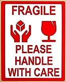 """Rotolo di etichette adesive per imballaggi con scritto """"Fragile Please Handle With Care"""" (""""Fragile, si prega di maneggiare con cura""""), 8x 10cm ,1rotolo x 500 etichette"""