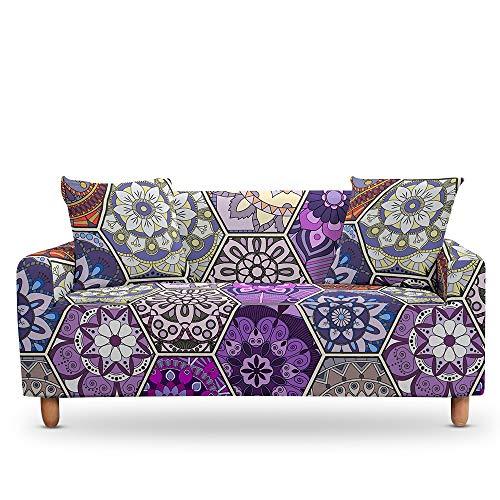ASCV Elástico 3D Mandala Funda de sofá Estiramiento Tight Wrap Fundas de sofá Todo Incluido para Sala de Estar Funda de sofá Funda de sofá A7 3 plazas