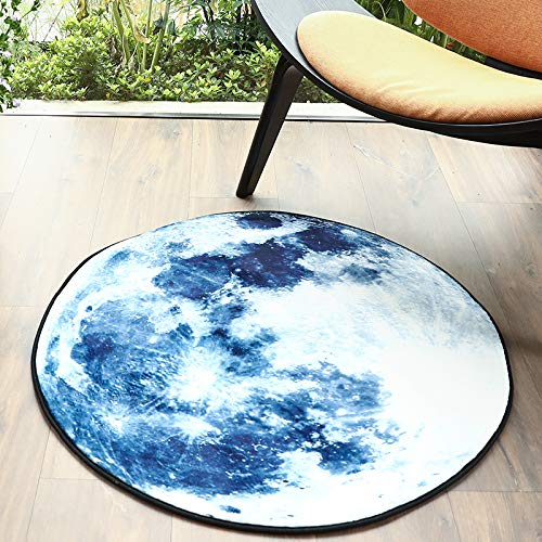 GWELL Galaxis Fußmatten Runde Teppich Kinderzimmer Weich Plüsch Anti-Rutsch Kinderteppich für Schlafzimmer Wohnzimmer dunkelblau 60 x 60 cm