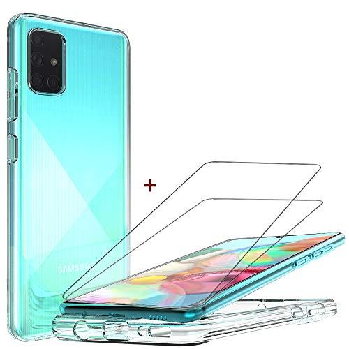 QHOHQ Funda Samsung Galaxy A71+2 Pack Cristal Templado Protector de Pantalla Samsung Galaxy A71, Ultra Fina Silicona Transparente TPU Cases Anti-caíd
