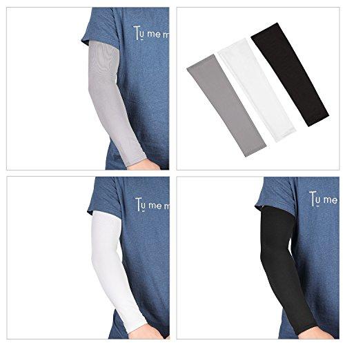 Tagvo Arm Sleeves, 3 Paar Outdoor Sports Arm Warmers Atmungsaktive Soft UV Schutz Cover Elbow Ärmeln Stretchy Arm Cooling Covers für Laufen/Radfahren/Fahren/Klettern/Golfen - 5