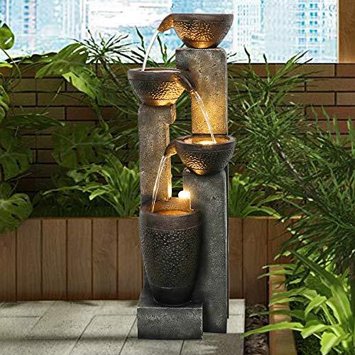 Hamiedun 40''H 4-Tier Outdoor Garden Water Fountain Decor, Resin Fountain for Garden, Floor Patio, Deck, Porch, Backyard and Home Art Decor (40inch)