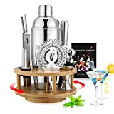 13 PCS Cocktail Shaker Set with Rotatable Bamboo Base, Bartending Kit Stainless Steel Cocktail Bar Tools