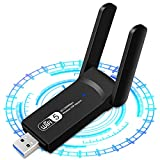 USB WiFi Adapter 1200Mbps Wireless Internet Adapter WiFi USB for Linux 802.11AC with 3dBi High Gain Antenna Support Linux Mac OS 10.15 Windows 10/8.1/8/7/ XP System, Easy to Use
