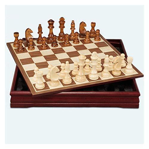 Cxcdxd Juego de Damas Juego de ajedrez de Madera Tablero de ajedrez Internacional Tablero de ajedrez de Madera Piezas de ajedrez de Madera Rey Altura Rey Ajedrez Juegos de Rompecabezas Juego de a