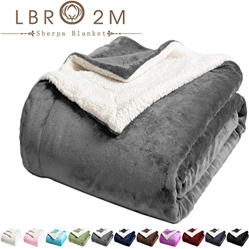 LBRO2M Sherpa Fleece Bed Blanket Queen Size Super Soft Fuzzy Plush Warm Cozy Fluffy Microfiber Couch Throw Velvet Double Reversible Luxurious Blankets (Grey, Queen(90x90 Inches))