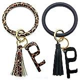 Spiritlele 2PCS Wristlet Keychain Bracelet Leather Keyring Bangle Tassel Big Round Key Chain for Women Girls (2 Keychain + 2 Clean Key)