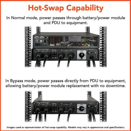 Tripp Lite 5000VA SmartOnline UPS, Double-Conversion, 208/240 & 120V, 4U Rack/Tower, Extended Run, Network Card Options, USB, DB9, Bypass Switch (SU5000RT4U)