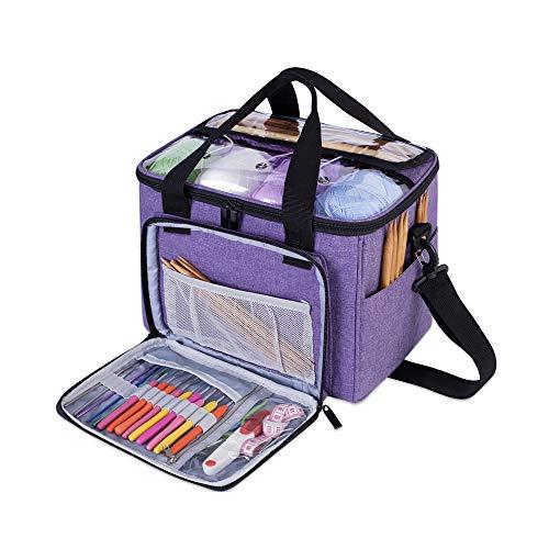 Teamoy Bolsa de Ovillos Bolso de Crochet Mochila Bolsa de Almacenamiento de Tejido en Orden(NO Incluido Accesorios), Pequeño,Púrpura
