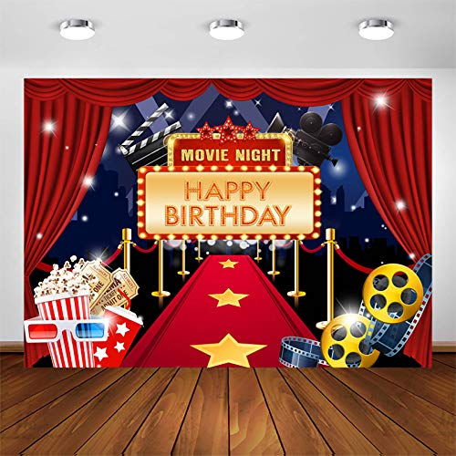 Avezano Hollywood Movie Night Backdrop for Birthday Party Hollywood Red Carpet Movie Theme Bday Party Photoshoot Photography Background Star Red Carpet Gold Movie Night Photobooth Decorations (7x5ft)