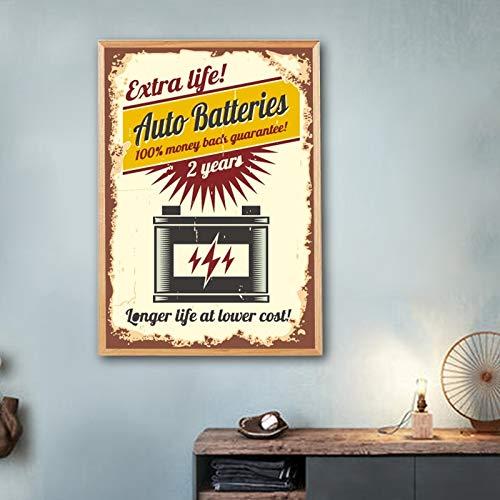 yaoxingfu Rahmenlose Auto Service Zeichen Vintage Poste und Drucke Garage Retro Wandkunst Leinwand ng Gas Autoteile Batterien Bild Wand 40x60cm