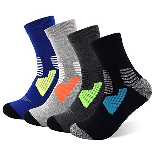 Copper Infused Athletic Ankle Socks for Men and Women Moisture Wicking Socks (Multicolor-4 Pairs)