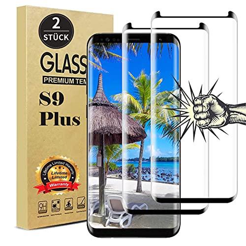 【2 Stück 】 Galaxy S9 Plus Panzerglas Schutzfolie, Anti-Fingerabdruck, Anti-Kratzen, Anti-Öl, 9h Härte 3D Vollständige Abdeckung Displayschutz Panzerglasfolie für Samsung S9+ Plus