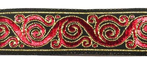 10m Brokat Borte Webband 22mm breit Farbe: Schwarz-Rot-Gold von 1A-Kurzwaren 22221-swrtgo