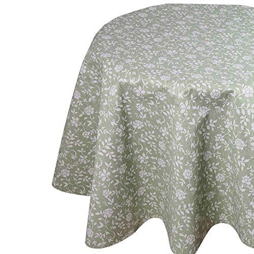 DecoHomeTextil Wachstuchtischdecke Wachstuch Tischdecke Gartentischdecke Rund Oval Robust Blümchen Grün Oval 130 x 160 cm abwaschbare Wachstischdecke geprägt