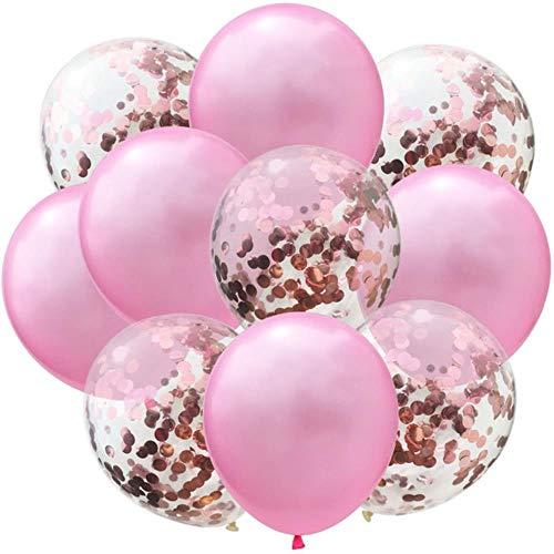 Xinger 10st Latex ballonnen en gekleurde confetti verjaardagsfeestje decoraties Mix Rose huwelijksverjaardag cadeau Helium Ballon, roze en rose goud