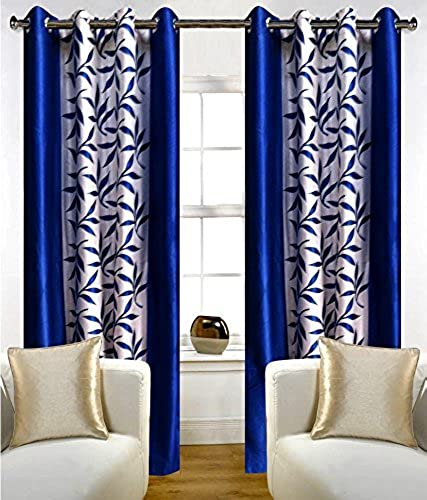 Curtain Bazzar Home Premium Floral Set of 1 Piece Blue 4 x 5