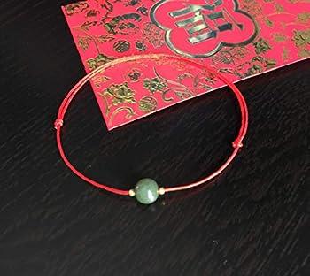 Good luck red cord bracelet Jadeite Bracelet Lucky Jade Bracelet Wish Bracelet Protection Bracelet Red string 14k gold filled Amulet Anklet.