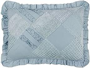 Better Trends / Pan Overseas 21 X 27+2 Inch Ruffled Chenille Patchwork Sham, Standard, Blue