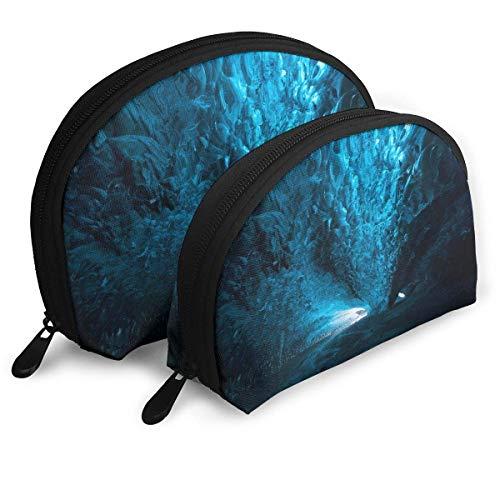 XCNGG Bolsa de almacenamiento Hermosa Cueva de hielo azul Bolso de maquillaje de viaje portátil Bolsas de almacenamiento organizador de artículos de tocador impermeables