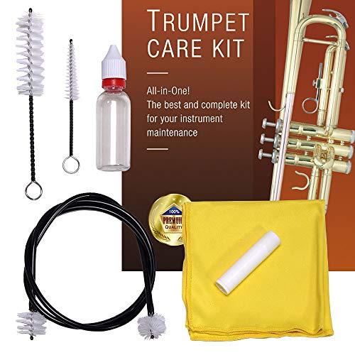Libretto Trumpet (Cornet) ALL-INCLUSIVE Care Kit w/Instructions: Valve Oil+Slide Grease+Cleaning Cloth+Mouthpiece/Valve/Bore Brushes, Giftable Handy Case, Time to Clean & Extend Life of your Trumpet!