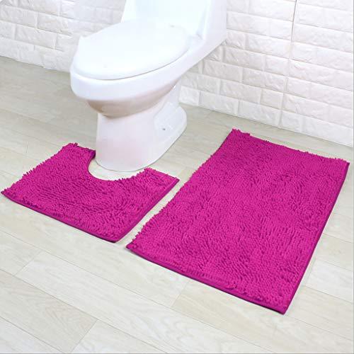 Shan-S Bathroom Rugs Luxury Chenille Mats 2 Piece Set,Anti-Slip Ultra Soft Plush Shower Rug +Toilet Mat Chenille Rug/Bathmat/Toilet Rug Washable Rug Super Absorbent Throw Rug Tub Kitchen Blanket