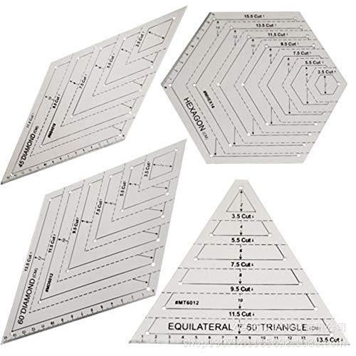 4 Stück Quilten Patchwork Lineal, Durchsichtigen Kunststoff Quilten quadratische Vorlage, Dreieck & Sechseck Quilten Lineal Set, 45 Grad & 60 Grad Lineal, zum Nähen von Kunsthandwerk