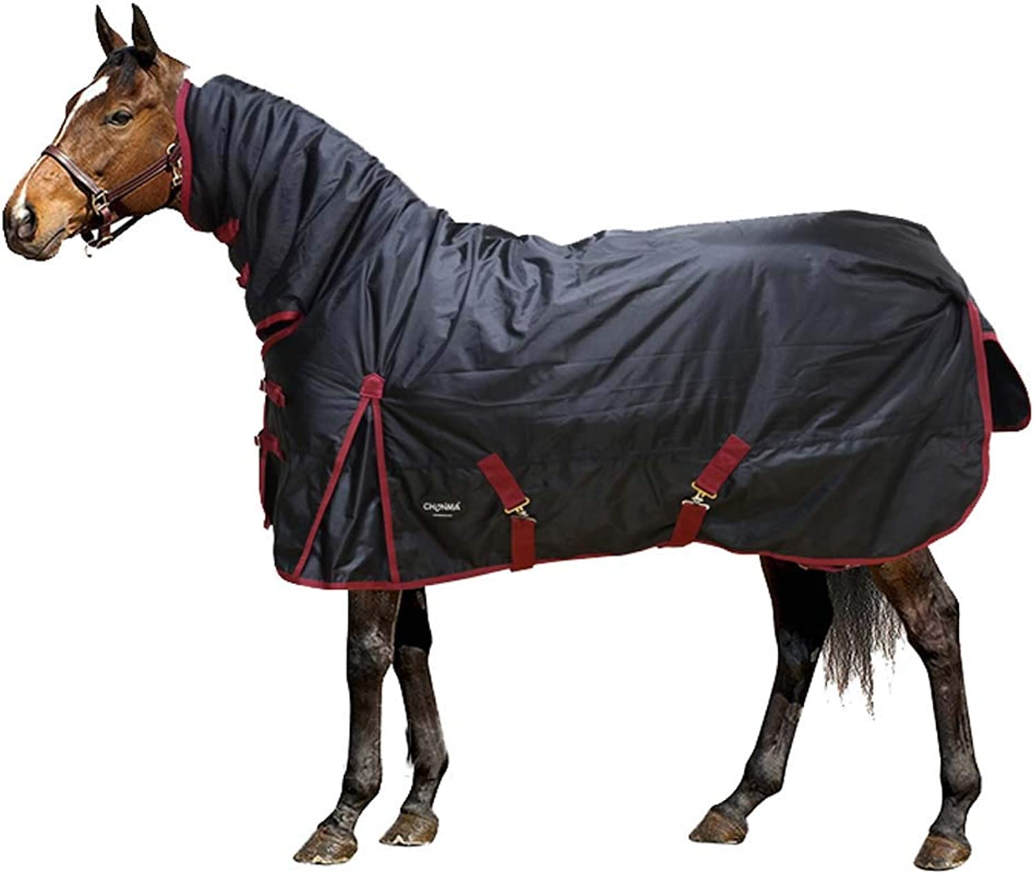 280G Thick Cotton Horse blanket Turnout Rug Combo Winter Full Neck Fill Waterproof Fixed Combo Unisex for Equestrian Pony Horse Riding,7XL