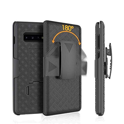 Galaxy S10 Case,HIDAHE S10 Belt Clip Holster Case Slim Fit Shell Combo Shell Holster Case Bulit-in Kickstand Protective Cover for Samsung Galaxy S10 2019 Release,Black