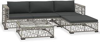 vidaXL Set de Muebles de Jardín 5 Piezas y Cojines Ratán Sintético Casa Hogar Terraza Piscina Parque Decoración Diseño Estilo Conjunto Mobiliario Gris