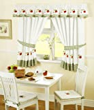 Fruits Pencil Pleat Kitchen Curtains and Tiebacks, Green/White, 46 x 48-Inch
