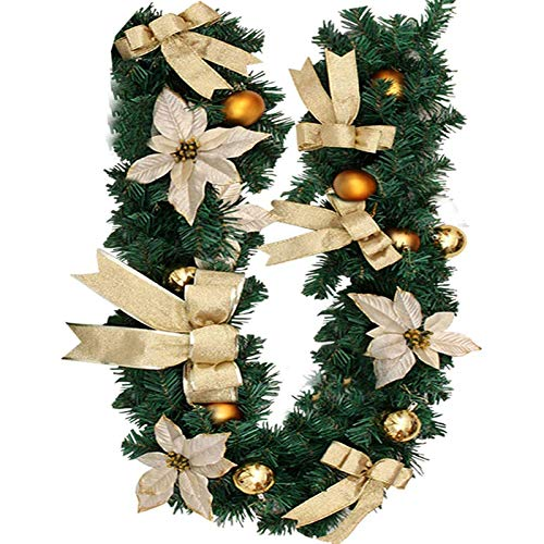Cabin 6Ft/1.8M Christmas Garland, Green Artificial Wreath Fireplaces Stair Xmas Festive Flowers Tree Garden Yard Decor Bow Berries Pinecones for Stairs Fireplaces Decoractions