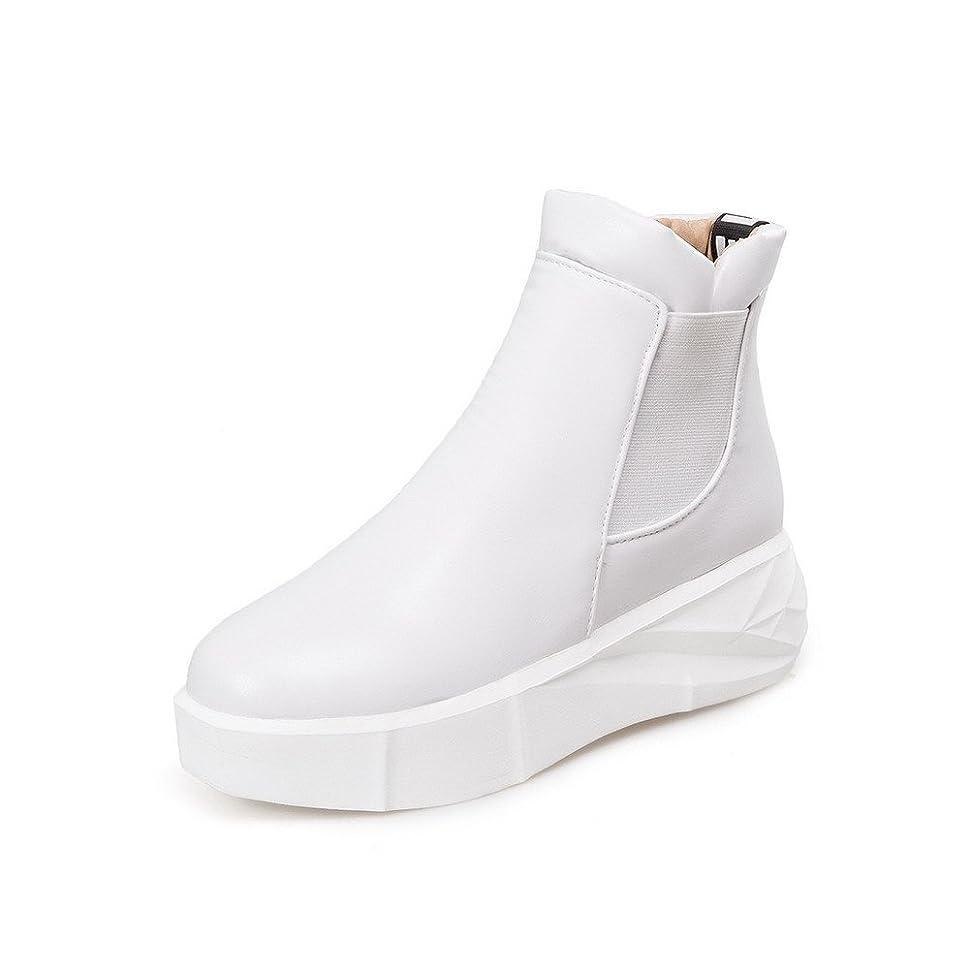 セラー置換どこにでも[ウンファッション] レディース プルオン 中ヒール PUの皮 ウェッジヒール ラウンドトゥ ショートブーツ