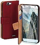 moex Handyhülle für Huawei Ascend G7 - Hülle mit Kartenfach, Geldfach & Ständer, Klapphülle, PU Leder Book Hülle & Schutzfolie - Weinrot