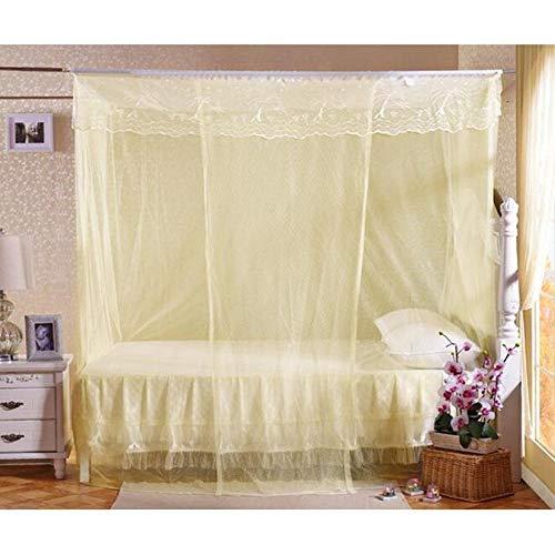 MosquiterasPuerta simple superior cuadrada 0.9 m 1.2 m 1.5 m 1.8 m cama doble dormitorio de estudiantes mosquitera universal a la antigua litera inferior amarillo Cama de 1,2 m (4 pies)